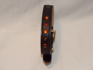 "Hand-Made HAVANA BROWN Leather Bridle Collar - 5/8"" Width"