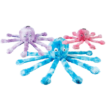 Dog Toys: Plush Fluffy Dog Toy - Baby Octopus